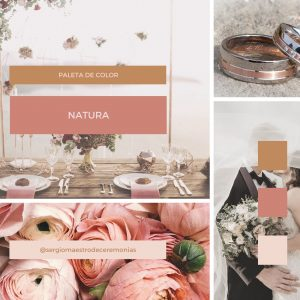 Mood board paleta de colores naturales para boda